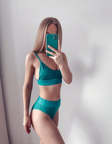INGAGA High Waist Bikinis 2021 Swimwear Women Push Up Swimsuits Solid Brazilian Bikini Ribbed Biquini Strap Swim Bathing Suits