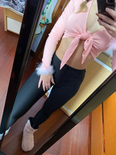 WannaThis Pink V-Neck Sexy Women Shirt Front Bandgae Lace up Long Sleeve Patchwork Feathers Cute Cropped Skinny Fall Short Tops
