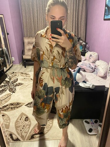 Pajamas Women's Short-sleeved Cropped Trousers Pajamas Set with Leaves Printing Lapel Casual Large Size Loose Style Home Clothes