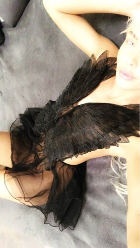 Sexy Mesh Women Lingerie Nightwear Black White Lace Embroidery Wing V-Neck Sleeveless Sleepwear Mini Night Dress Gecelik Nighty